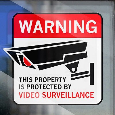 4 CCTV VIDEO SECURITY STICKER - SURVEILLANCE WINDOW WARNING - Internal Decal