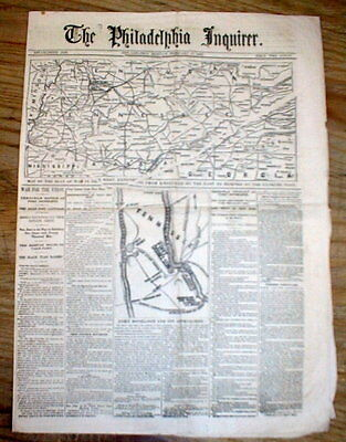 BEST 1862 Civil War newspaper MAPS Union Victory BATTLE OF FT DONELSON Tennessee