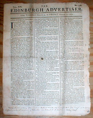 1773 EDINBURGH Scotland newspaper w RED TAX STAMP from year of BOSTON TEA PARTY