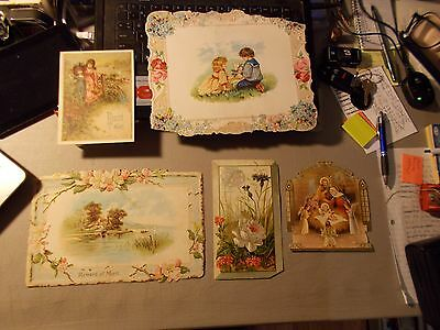 Antique Large Victorian LOT OF 5 CARDS 4 REWARD OF MERIT AND ONE RELIGIOUS