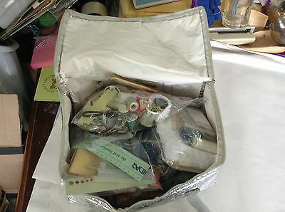 Silver Bag filled with lots of Arts and needle work supplies