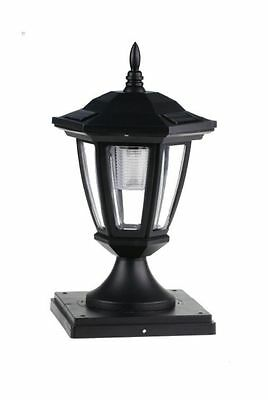 Set of 2 Black Solar Hexagon Cap Lights With White LEDS for 6X6 Fence Post
