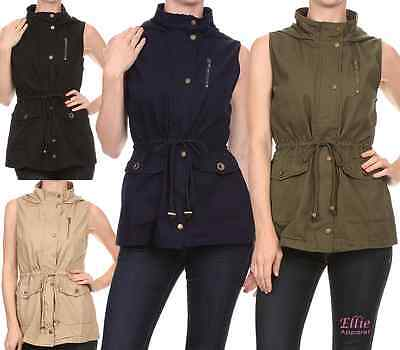 f532a94e78c65 Women s Military army Lightweight Hooded Pocket Draw string jacket Vest ...