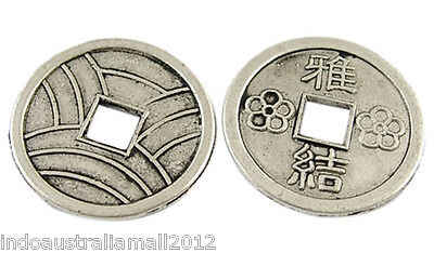 20 X Chinese  Antique Silver Alloy Auspicious Coins Beads 19mm Dia (LF1540Y))