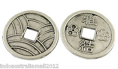 20 X Chinese  Antique Silver Alloy Coins Beads19mm Dia (LF1540Y))