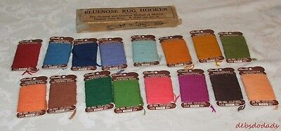 Vintage Bluenose Rug Hooker / Instructions / Lot of Needlepoint Crewel Wool Yarn