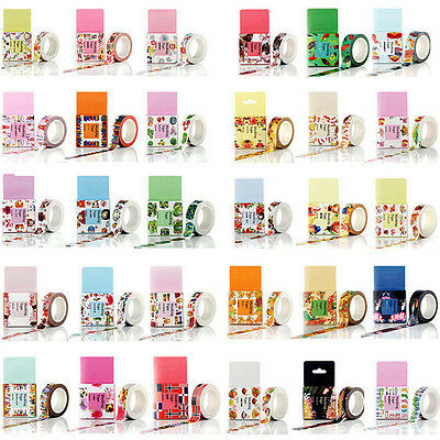 DIY 10M Self Adhesive Cartoon Washi Masking Tape Sticker Craft Decor Decorative