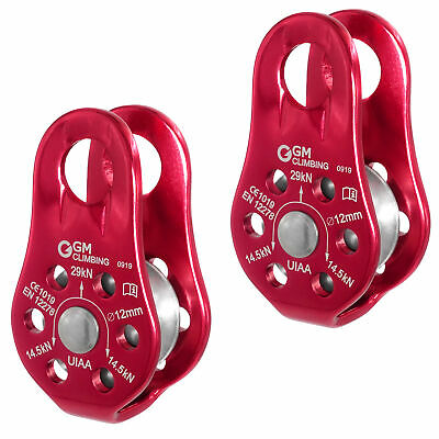 2 x 29kN Fixed Micro Pulley for Rope Access Climbing Rescue Working By CE UIAA