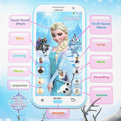 Blue Frozen Figures Educational Learning Mobile Phone Kids Children Baby Toy