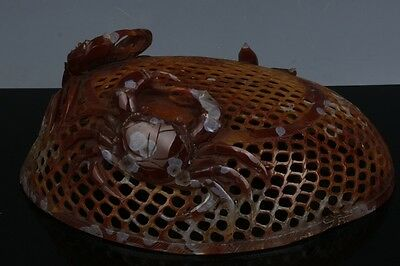 Exquisite Chinese natural agate hand-carved  crab basket