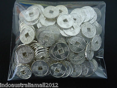 50 PCS Small Silver Plated Metal Chinese Fortune Coins 10mm Premium (M018-01S)