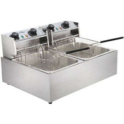 Twin commercial style home kitchen deep fryer