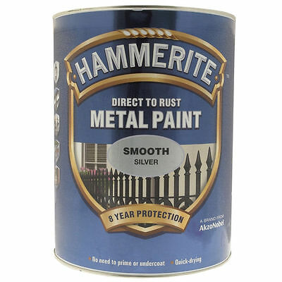Hammerite Direct To Rust Metal Smooth Silver 5 Litre Paint