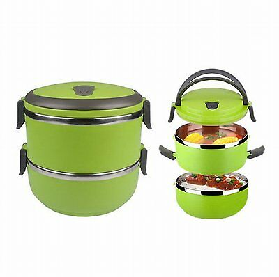2 Layer Tier Stainless Steel Square Food Container Bento Lunch Box Portable