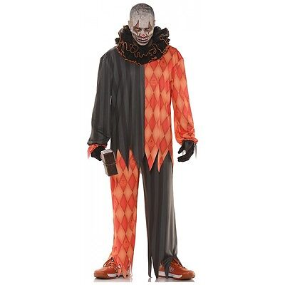 Scary Clown Costume Adult Evil Circus Freak Halloween Fancy Dress Outfit