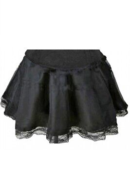 Petticoat Rock schwarz in L XL aus Satin Burlesque Minirock Stretch Pettycoat