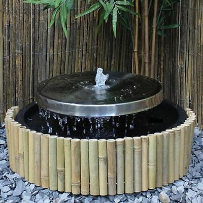 Stainless Steel Millstone Garden Water Feature with LED's