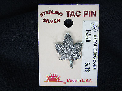 Sterling Silver Tac Pin Maple Leaf  Canada  Vermont New on card.
