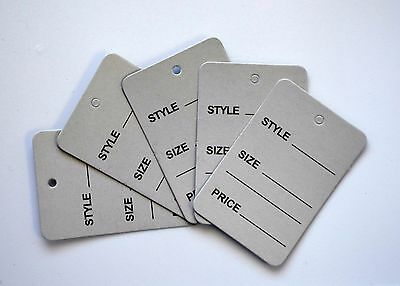 1000 Grey Merchandise Price Jewelry Garment Store Paper Small Tags Silver