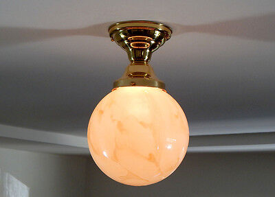 Mid Century Light Fixture Vintage Glass Globe New Custom Brass Fixture