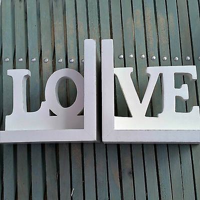 Shabby White Chic Wooden Set Of Bookends - Love - Book Ends