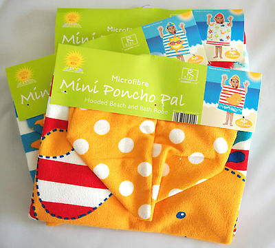 Mini Hooded Poncho for Baby,Toddler, Kids, Bath Beach Towel 18mths - 3yrs