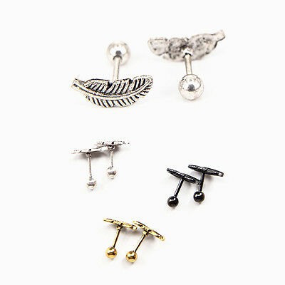 Pair 16G 1.2mm Feather Ear Cartilage Tragus Helix Stud Earring Piercing Jewelry