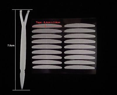 Double Sided Clear Sticky Sticker Eyelid Tape w. Fork Applicator - High Quality