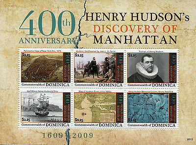 Dominica 2009 MNH Henry Hudson Discovery Manhattan 400th Anniv 6v M/S Stamps