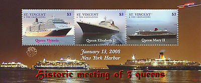 St Vincent & The Grenadines 2008 MNH 3 Queens 3v M/S Cruise Ships Boats Stamps
