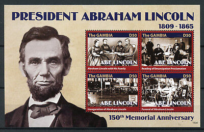 Gambia 2015 MNH US President Abraham Lincoln 150th Memorial Anniv 6v M/S Stamps