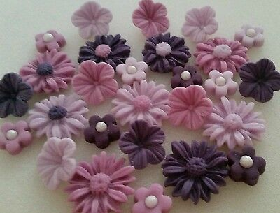 27 Edible Sugar Pretty Purples Mixed Flowers Cake Cupcake Toppers