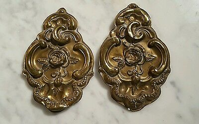 Antique Victorian Brass Floral Embossed Candle Reflectors Wall Protectors