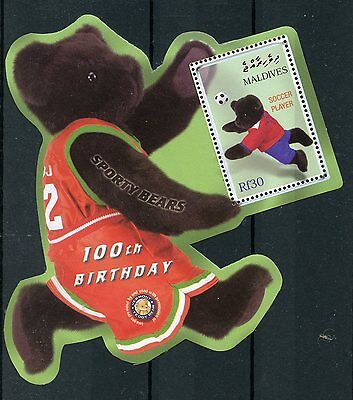 Maldives 2002 MNH Teddy Bears 100th Ann Sporty Bears 1v S/S II Football Stamps