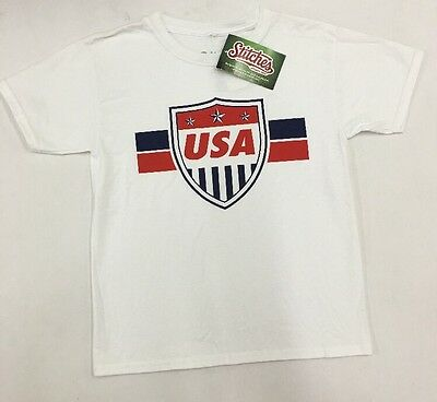 Stitches Athletic Gear Boys Soccer Country Graphic T Shirt White