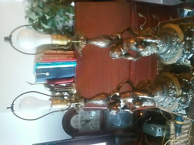 "pair vintage cherub cast brass lamps 30.5"" tall"