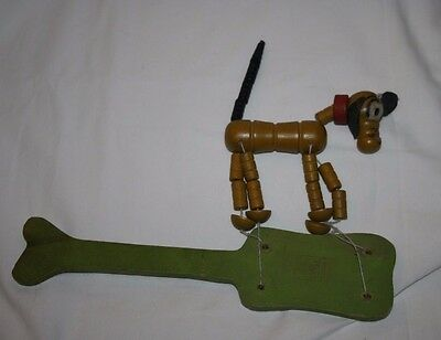 Vintage Disney Wood Pluto String Toy Wooden