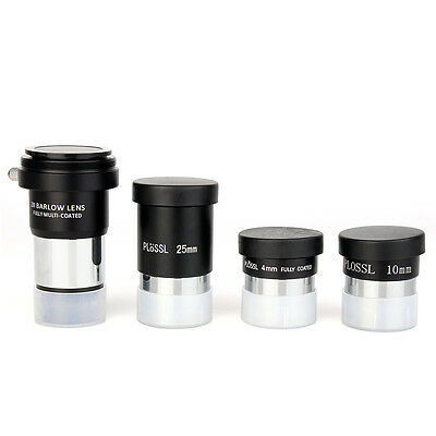 New  Metal  1.25 inch Plossl Eyepieces 4mm 10mm 25mm + 2x Barlow Accessory Kit