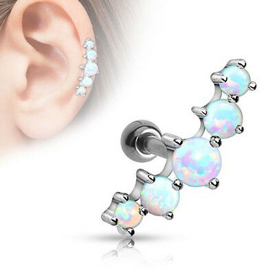 1 Piece Surgical Steel Tragus Cartilage Barbell Earring Stud Ring Opal Ball New