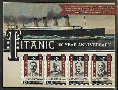 Antigua & Barbuda 2012 MNH RMS Titanic 100 Year Anniv Sinking 4v M/S Stamps