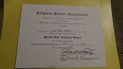 1973 Religious Science International Certificate of Recognition - Robert Bitzer