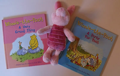 WINNIE-THE-POOH & PIGGLET Books and Cuddly Toy plush Lot/ Set A very Grand thing