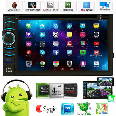"Quad Core Android 4.4 GPS Car Radio Stereo DVD Player 6.5"" Double 2 DIN 3G WIFI"