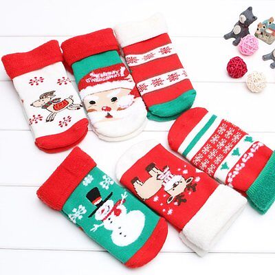 Baby Kids Toddlers Girls Christmas Socks Tights Leg Warmer Stockings For Age 1-8