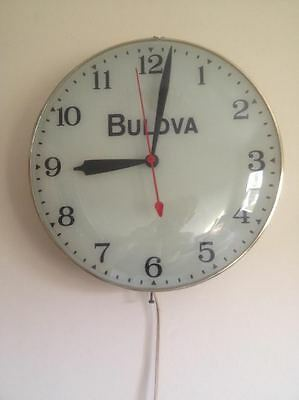 "Vintage 15"" BULOVA Store Display Light Up Curved- Glass Clock Dome Works Great"