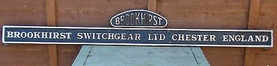 Reclaimed Huge Antique Cast Iron Sign Brookhirst Switchgear Chester England