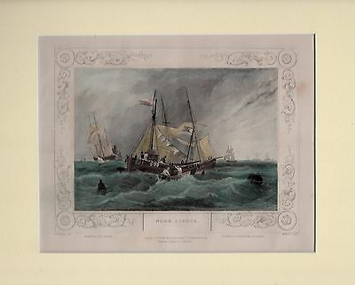 C1860s Hand Coloured & Mounted Engraving - Sailing Ships Nore Lights