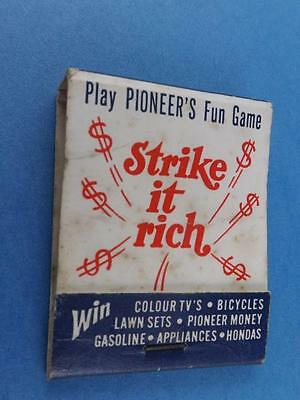 Pioneer Gas Station Strike It Rich Contest Vintage Matchbook Oil Gas Collector