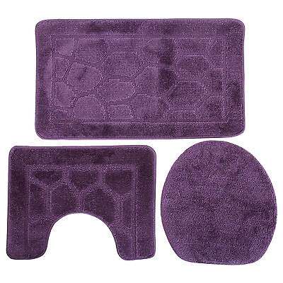 3 Piece Giraffe Print Bath, Pedestal & Toilet Seat Cover Bathroom Mat Set