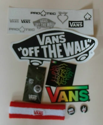 VANS Off The Wall Headband & STICKERS & Pin Badges Skateboard Lot Sweat band NEW